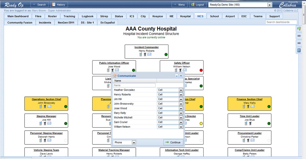 Comm Box hospital incident command system readyop