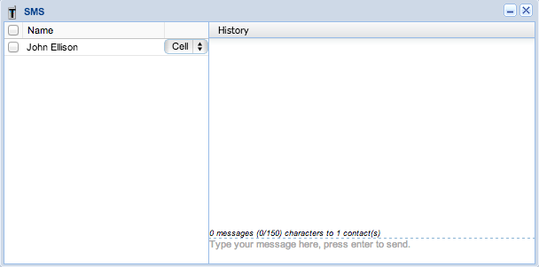 Screenshot: SMS Dialog