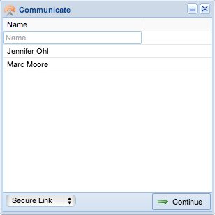 Screenshot: Communication Dialog